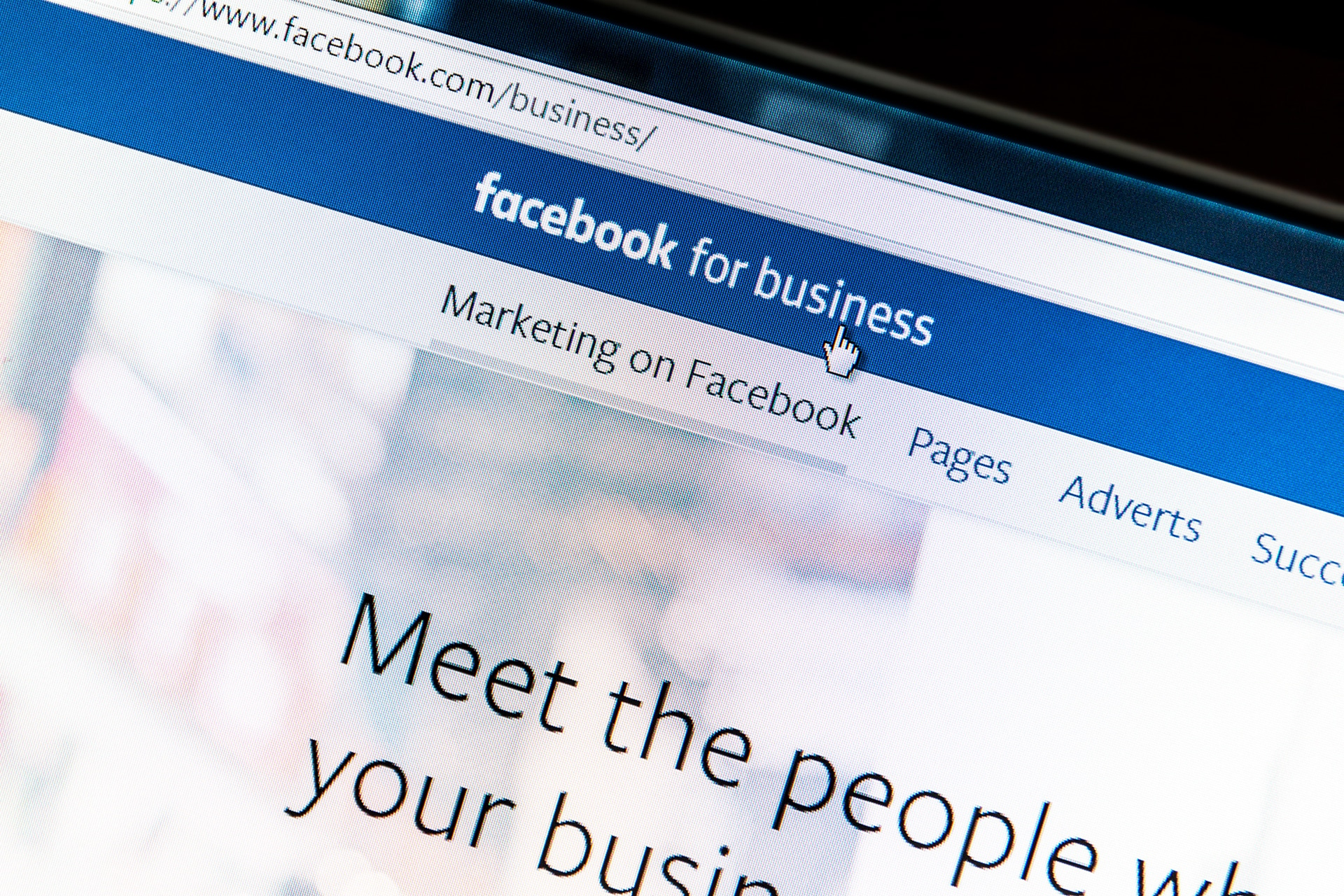 computer screen showing facebook for business
