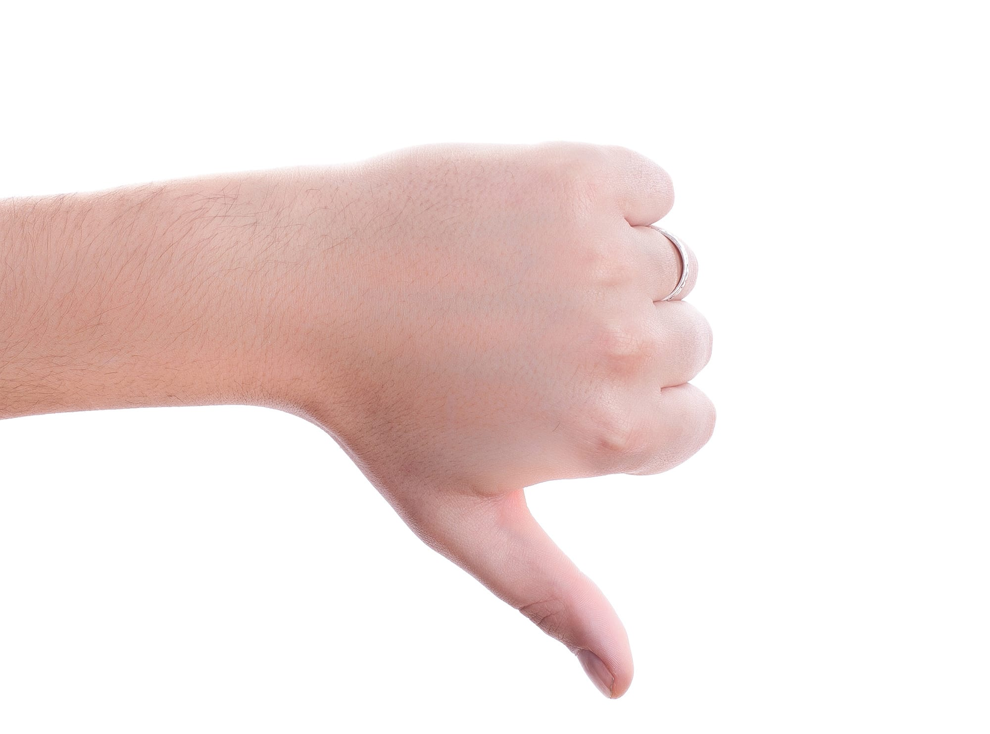 picture of a person's hand with thumb down facing to illustrate facebook organic algorithm changes