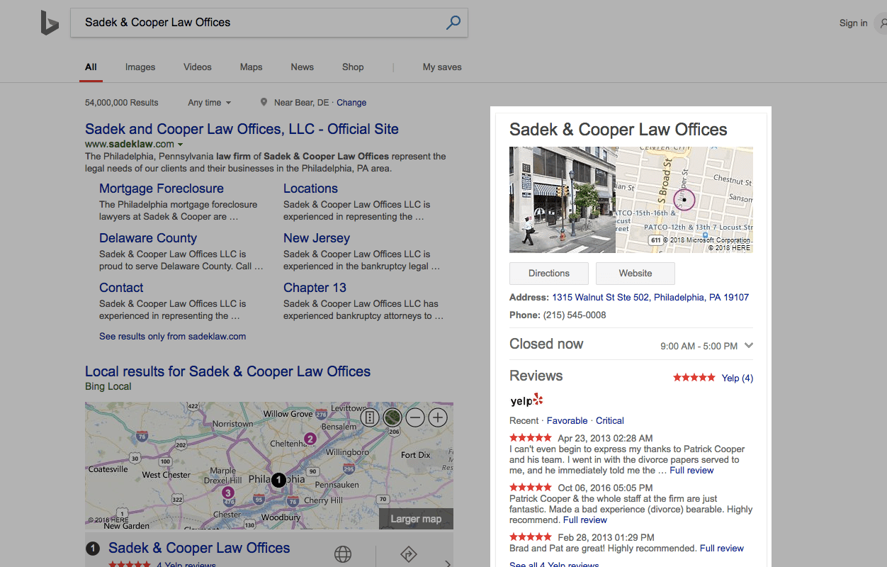 screenshot highlight of a bing local search result for a law firm in philadelphia