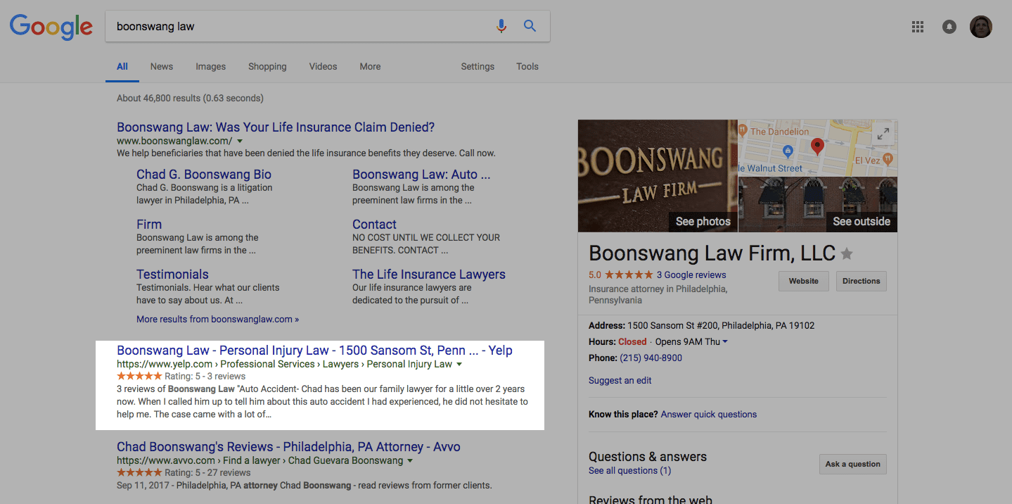 highlighted screenshot of a google local seo screenshot for attorney search marketing