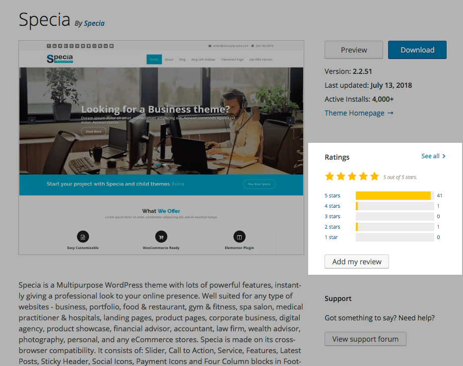 Specia Example - Ratings and Reviews