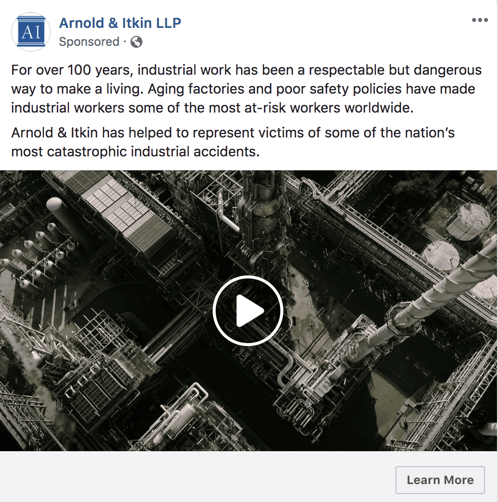facebook ads promo video example facebook ads for law firms
