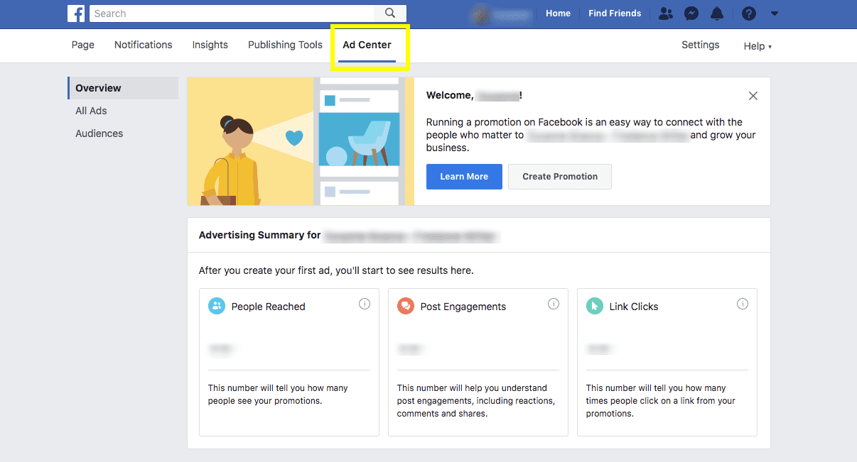 screenshot of facebook ad center