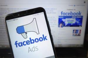 facebook ads logo on a smartphone screen