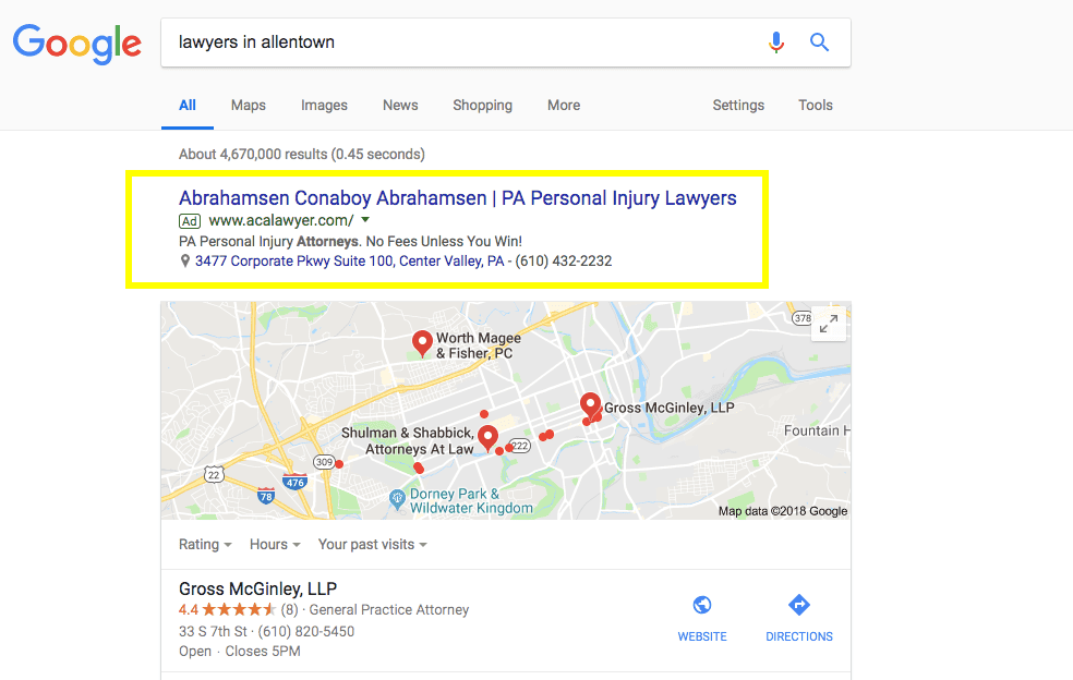 screenshot of a google ad for an attorney on a search engine results page