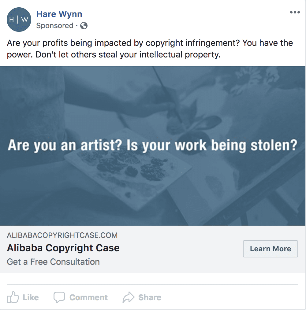 this is a screenshot of a targeted facebook ad a law firm might use to get more clients