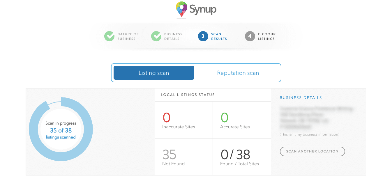 image showing the synup reputation management tool dashboard for generating online reviews